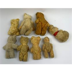 Eight 1950s European small teddy bears including a German one with open mouth, largest H9