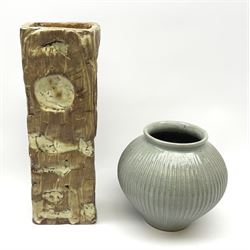 Rectangular studio pottery vase, marked KD to the base, H31cm and a smaller blue glazed vase by Andrew Crouch (born 1982) with impresses seal mark beneath, H16cm