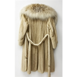 Marble blond mink three quarter length coat and fox fur collar, with belt