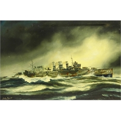 Peter Gerald Baker (British 20th century): Naval Ship's Portrait - 'HMS. Suffolk in North Atlantic Patrol 23rd May 1941 in Search of the Bismarck', oil on canvas signed, titled and dated 1979 verso 50.5cm x 75cm Provenance: with Highgate Gallery, Beverley, East Yorkshire