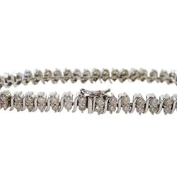 18ct white gold diamond bracelet, two rows of round brilliant cut diamond with an S link between each pair, stamped 750, total diamond weight approx  3.25 carat