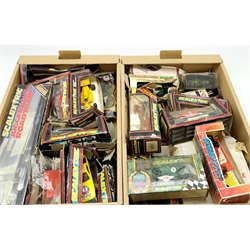 Scalextric - nineteen slot-racing models, predominantly by Scalextric, some for spares or repair, including racing cars, rally cars, Minis, vintage car, saloon cars etc, predominantly in distressed boxes; together with quantity of empty and part boxes
