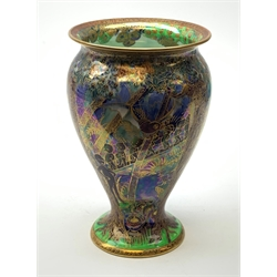 Wedgwood Fairyland Lustre vase, designed by Daisy Makeig Jones, of baluster form decorated with the Imps on a Bridge pattern, painted with a procession of imps crossing a bridge set within a fantasy landscape, heightened with gilt detail throughout, with printed and painted marks beneath, H22.5cm