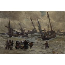 Joseph Richard Bagshawe (Staithes Group 1870-1909): 'Putting Out in Rough Weather', watercolour and gouache unsigned 37cm x 54cm Provenance: with Simon Wood, Brockfield Hall, York; Bagshawe Family collection, authenticated by the artist's great-grandson Tim McDowell, label verso