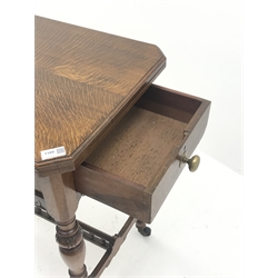 Edwardian oak card table, lockable swivel foldover top with baize lining and inset bezique markers to opposing corners, drawer to end, turned and carved supports joined by H stretchers, 77cm x 45cm, H75cm (closed)