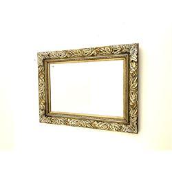 Rectangular wall mirror in leaf moulded frame, bevelled plate