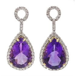 Pair of 18ct gold pear shaped amethyst pendant earrings, with diamond surround, amethyst total weight 9.00 carat total, diamond total weight approx 1.10 carat