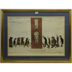 Laurence Stephen Lowry RA (Northern British 1887-1976): 'Meeting Point', limited edition coloured offset lithograph signed in pencil with Fine Art Guild blind stamp numbered AJC from an edition of 600 pub. Adam Collection 1973, 49cm x 72cm