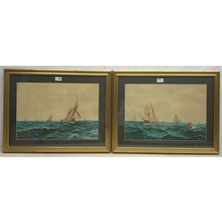 J W Pringle (19th/20th century): Grimsby Fishing Boat and other Sailing vessels, pair watercolours signed and dated 1909, 34cm x 49cm (2)