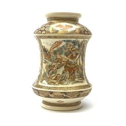 A late 19th century Japanese Satsuma vase, of waisted cylindrical form, painted with figural panels and heightened with gilt throughout, H18cm.