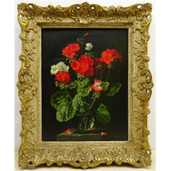 Gerald Cooper (British 1898-1975): Still Life of Geraniums, oil on board signed and dated 1952, 49cm x 39cm Provenance: with The Fine Art Society Bond St. London; exh. The Ferens Art Gallery Hull 1970, No.43, labels verso