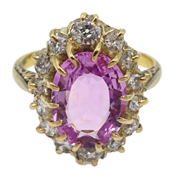 Early-mid 20th century gold pink tourmaline and old cut diamond cluster ring, stamped 18ct