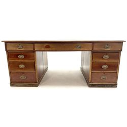 19th century mahogany twin pedestal partners desk, leather inset top, eighteen graduating drawers, plinth base