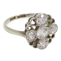 Art Deco five stone diamond ring bezel, set in pierced platinum with white gold band, stamped 18 & PT