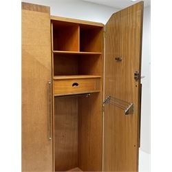 Ernest Gomme - early 20th century Art Deco oak four piece bedroom suite - comprising double wardrobe (W118cm, D48cm, H177cm) gents wardrobe (W74cm, D48cm, H175cm), dressing table and double bedstead