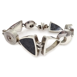 Silver agate set designer bracelet by CGV Sheffield 2006