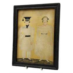 George III pin prick and watercolour portrait of a lady and gentleman, in ebonised frame, 18cm x 13cm   Provenance: From the collection of the Cook Family.