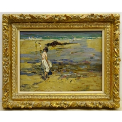 Dorothea Sharp (Newlyn School 1874-1955): 'On the Beach', oil on board signed, with a similar scene verso 30cm x 40cm