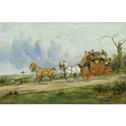 George Wright (British 1860-1942): 'Coach and Four on the Open Road', oil on canvas signed 49cm x 74cm  Provenance: purchased by the vendor Sotheby's London 12th November 1992, Lot 225; with Kurt E Schon Ltd, New Orleans and Vienna, label verso
