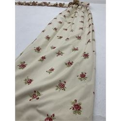 Pair lined curtains with floral field with pelmet and tie backs (W190cm, D174cm)