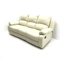 Three seat manual reclining sofa, upholstered in a white leather (W200cm) and a matching two seat manual reclining sofa (W145cm)