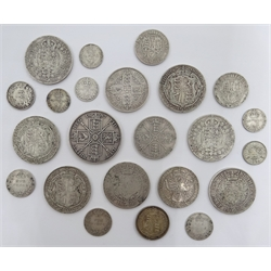 Queen Victoria and later pre 1920 British silver coins including Queen Victoria Gothic florin 1853, seven halfcrowns dated 1889, 1890, 1894, 1896, 1913 and two 1916, 1887 double florin etc