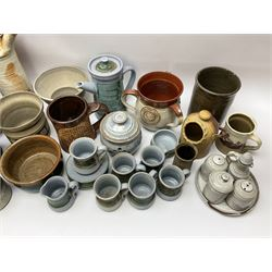 A group of assorted Studio Pottery, to include an Ambleside coffee set decorated with a painted landscape panel, various other teawares, salt pig, bowls, etc., of various form and decoration, various makers marks.