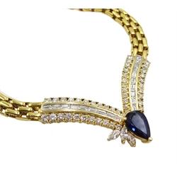 18ct gold diamond and sapphire necklace, brick link design leading to diamond V design, consisting of 46 round brilliant cut diamonds, 18 baguette diamonds, 3 marquise diamonds and a pear shaped sapphire, stamped 750