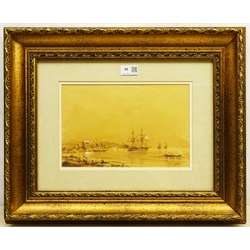 Attrib. Ivan Konstantinovich Aivazovsky (Russian 1817-1900): Shipping off the Coast, sepia wash heightened in white signed in Cyrillic 19cm x 29cm