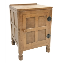'Mouseman' panelled oak bedside cabinet, all over adzing, single door enclosing shelf, by Robert Thompson of Kilburn, W48cm, H68cm, D38cm
