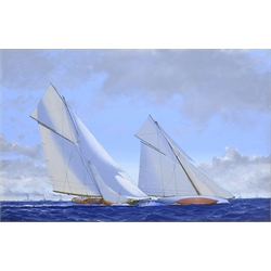 James Miller (British 1962-): 'Shamrock II' & 'Columbia' in the America's Cup Series 11th challenge 1901, oil on canvas signed, titled verso 29cm x 45cm