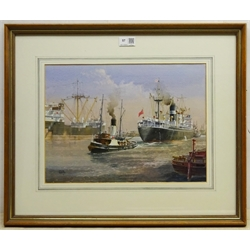 Colin Verity RSMA (British 1924-2011): 'Docking', watercolour heightened in white signed 28cm x 38cm Provenance: exh. Ferens Art Gallery Hull, Winter Exhibition 1993