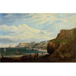 George Chambers Jnr. (British 1829-1878): Whitby from Upgang with Bathing Machines and Figures on the Beach, oil on canvas signed and dated '73, 59cm x 90cm