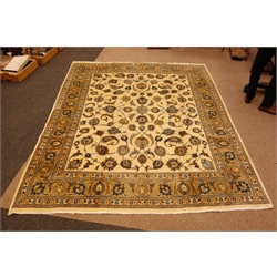 Meshed rug, ivory field with palmettes and boteh with palmette striped border, 298cm x 320cm