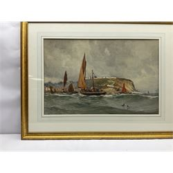 Ernest Dade (Staithes Group 1868-1934): Fishing Boats in the South Bay Scarborough, watercolour heightened in  white signed 48cm x 73cm