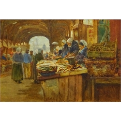 Henry Silkstone Hopwood (Staithes Group 1860-1914): 'Old Market Dieppe', watercolour signed and dated 1897, titled verso 24cm x 35cm