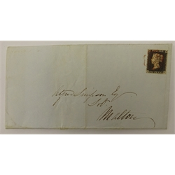 Queen Victoria penny black stamp on cover, red MX cancel