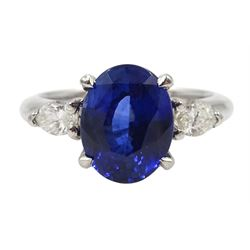 Platinum oval Ceylon sapphire and marquise shape diamond three stone ring, hallmarked, sapphire approx 2.70 carat