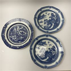 A group of 19th century blue and white transfer printed pottery, various makers and patterns, to include Minton Queen of Sheba pattern plate, Joshua Heath Reindeer pattern plate with towering pagoda, and seal in the foreground, a number of plates decorated in the Chinoiserie Bridgeless pattern, two Mandarin type pattern plates, possibly Spode, etc.