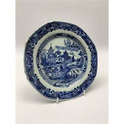 18th century Chinese blue and white porcelain plate, of octagonal form decorated with a riverside scene with pagodas, fence, and trees, within lattice and key fret detailed border, D22.5cm, together with a late 18th/early 19th century blue and white cream boat of English shape, H8.5cm, and an early 19th century Chinese blue and white coffee cup, H6cm, both decorated in riverside scenes