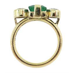18ct gold three stone emerald and round brilliant cut diamond ring, hallmarked, total diamond weight approx 1.00 carat