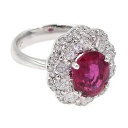 18ct white gold unheated oval ruby and round brilliant cut diamond cluster ring, hallmarked, ruby 3.07 carat, total diamond weight approx 1.65 carat, with WGI certificate