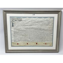 19th century indenture relating to the Hardwick family in the county of York, on vellum with four wax seals, in quality limed oak style frame, 67cm x 87cm overall