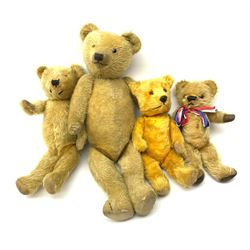 Four English teddy bears 1930s-50s comprising two by Chiltern; another in the Chiltern style; and one by Chad Valley, largest H23