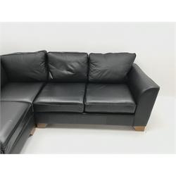 Mark's & Spencer's Home corner sofa upholstered in black leather, W258cm, D258cm