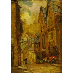 Owen Bowen (Staithes Group 1873-1967): 'A Street in Dinan', oil on panel, inscribed dated 1934 and titled verso 17cm x 12cm