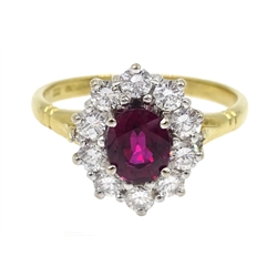 18ct gold oval ruby and round brilliant cut diamond cluster ring, hallmarked, ruby  1.07 carat