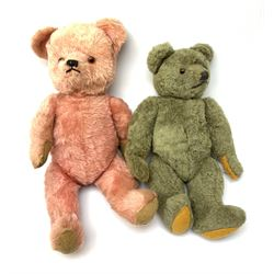 Two 1950s coloured teddy bears - Farnell type in faded greeny/grey coloured wool type plush with applied eyes, vertically stitched nose and mouth and jointed limbs with felt pads H17