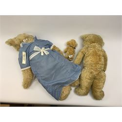 Merrythought - two 1930s teddy bears, one Magnet series, each plush covered with jointed swivel head, glass eyes, vertically stitched nose and mouth and jointed limbs, one with stitched Merrythought Hygienic label to foot, largest H27.5