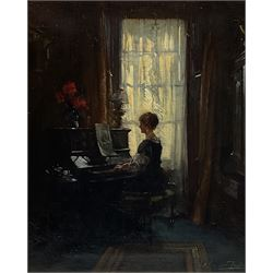 Albert Chevallier Tayler (Newlyn School 1862-1925): Drawing Room Interior with Lady playing the Piano, oil on canvas, signed and indistinctly dated 60cm x 50cm
